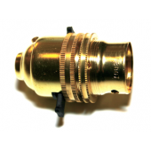 Brass pushbar switched lampholder 10mm